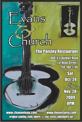 (due to venue closure).  FREE CONCERT: Latin / Mediterranean Jazz Acoustic Guitar Duo: Evans & Church, Meagan Devauld @ The Paisley Restaurant Nov 28 2009 - Sep 19th @ The Paisley Restaurant