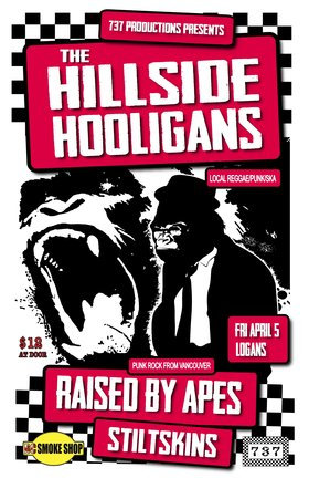 Hillside Hooligans, Raised By Apes, stiltskins @ Logan's Pub Apr 5 2013 - Aug 24th @ Logan's Pub