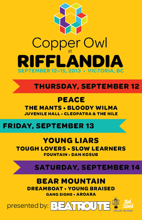 RIFFLANDIA 2013 AT THE COPPER OWL DAY 1: CLEOPATRA & THE NILE, Juvenile Hall, Bloody Wilma, The Mants, PEACE @ Copper Owl Sep 12 2013 - Oct 16th @ Copper Owl