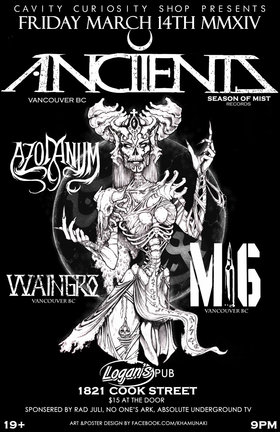 HUGE METAL SHOW!! FOUR OUT OF TOWN BANDS!!: Anciients, Azodanum, M16, Waingro @ Logan's Pub Mar 14 2014 - Jan 21st @ Logan's Pub