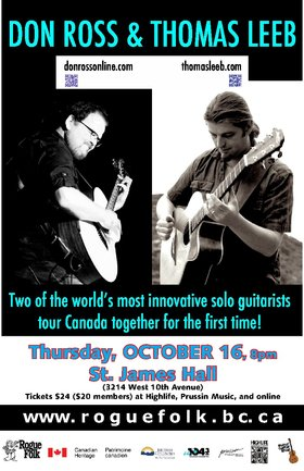 Don Ross , Thomas Leeb @ St. James Community Hall Oct 16 2014 - Sep 21st @ St. James Community Hall