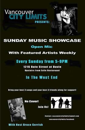 SUNDAY MUSIC SHOWCASE & OPEN MIC: Bruce Gerrish  (Host), Open Mic (with featured artists), Labidos , Angel Edwards @ 1216 Bute Street Nov 9 2014 - Jan 18th @ 1216 Bute Street