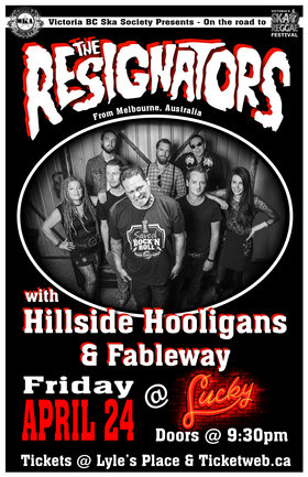 MELBOURNE, AUSTRALIA'S RESIGNATORS RETURN TO THE ISLAND!: The Resignators, Hillside Hooligans, Fableway @ Lucky Bar Apr 24 2015 - Aug 24th @ Lucky Bar