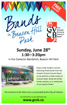 Bands in Beacon Hill Park: Greater Victoria Concert Band @ Stage in the Park (Cameron Bandshell) Jun 28 2015 - Mar 18th @ Stage in the Park (Cameron Bandshell)