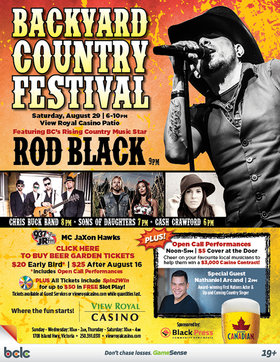 Rod Black , Chris Buck Band, Sons of Daughters, Cash Crawford, Nathanial Arcand @ Elements Casino - Victoria Aug 29 2015 - Dec 12th @ Elements Casino - Victoria