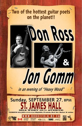 Don Ross , Jon Gomm @ St. James Community Hall Sep 27 2015 - Sep 21st @ St. James Community Hall
