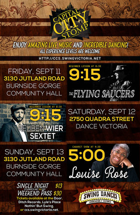 Capital City Stomp: The Flying Saucers @ Burnside-Gorge Community Hall Sep 11 2015 - Feb 17th @ Burnside-Gorge Community Hall