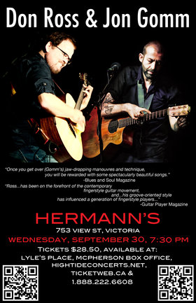 Don Ross , Jon Gomm @ Hermann's Jazz Club Sep 30 2015 - Sep 21st @ Hermann's Jazz Club