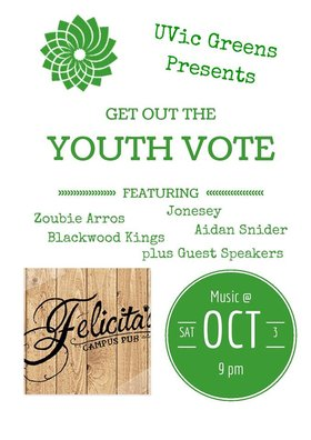 Get Out the Youth Vote!: Zoubi Arros, Blackwood Kings, Aidan Snider, Jonesey @ Felicita's Pub Oct 3 2015 - Mar 23rd @ Felicita's Pub