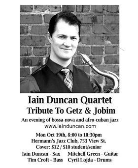 A Tribute to Getz & Jobim: Iain Duncan @ Hermann's Jazz Club Oct 19 2015 - Aug 21st @ Hermann's Jazz Club