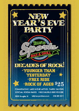 New Years Eve Decades of Rock!: Younger Than Yesterday, Free Ride, Rock Of Ages @ Tally Ho Sports Bar and Grill Dec 31 2015 - May 22nd @ Tally Ho Sports Bar and Grill