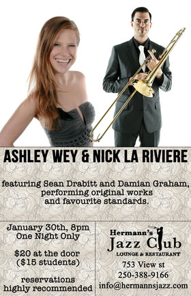 Nick La Riviere, Ashley Wey @ Hermann's Jazz Club Jan 30 2016 - Oct 16th @ Hermann's Jazz Club