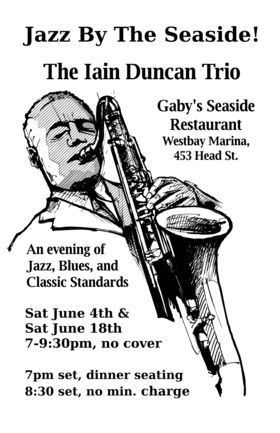 Jazz by The Seaside: Iain Duncan @ Gaby's Seaside Restaurant Jun 4 2016 - Aug 21st @ Gaby's Seaside Restaurant