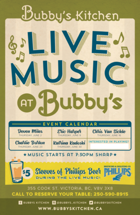 Music Night Every Thursday at Bubby's Kitchen: Deven  Miles @ Bubby's Kitchen Jun 2 2016 - Apr 23rd @ Bubby's Kitchen