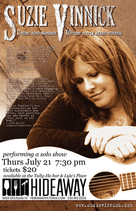 Acoustic Concert with: Suzie Vinnick @ Hideaway Café Jul 21 2016 - Dec 12th @ Hideaway Café