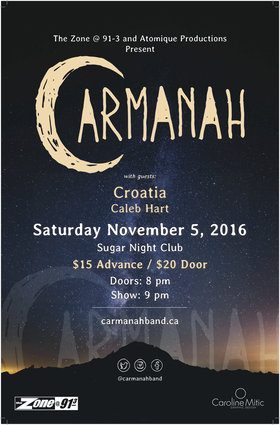 Carmanah, CROATIA, Caleb Hart @ Capital Ballroom Nov 5 2016 - Oct 23rd @ Capital Ballroom