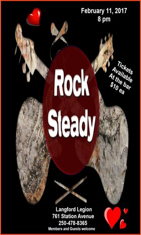 Valentine's Weekend Dance Party!: Rock Steady @ Langford Legion (Prince Edward) Feb 11 2017 - Dec 10th @ Langford Legion (Prince Edward)