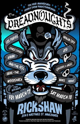 10 Year Anniversary - Night 1: The Dreadnoughts, Los Furios, Space Chimp, Kman and the 45s, Devil in the Woodshack @ Rickshaw Theatre Mar 17 2017 - Dec 14th @ Rickshaw Theatre
