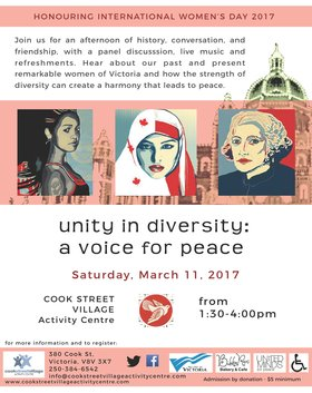Unity and Diversity: A Voice for Peace @ Cook Street Village Activity Centre Mar 11 2017 - Mar 18th @ Cook Street Village Activity Centre