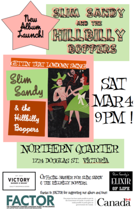 Slim Sandy and the Hillbilly Boppers CD launch: Slim Sandy and the Hillbilly Boppers @ Northern Quarter Mar 4 2017 - Mar 23rd @ Northern Quarter