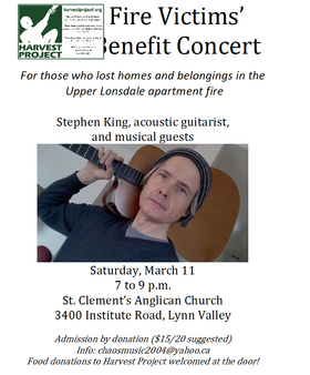 Benefit For Fire Victims: Stephen King @ St. Clement's Church Mar 11 2017 - Nov 17th @ St. Clement's Church