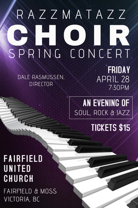 Spring Choral Jazz and Rock Concert: RazzmaTazz Rock and Jazz Choir @ Fairfield United Church Apr 28 2017 - Dec 14th @ Fairfield United Church