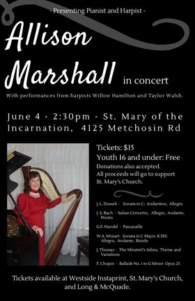 Allison Marshall in Concert @ St. Mary's of the Incarnation Jun 4 2017 - Feb 20th @ St. Mary's of the Incarnation