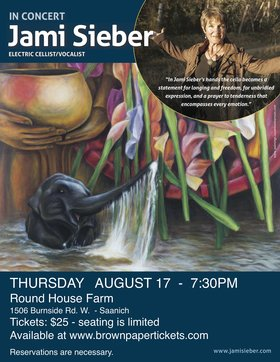 Renowned Electric cellist/vocalist/composer: Jami Sieber @ Round House Farm Aug 17 2017 - Mar 21st @ Round House Farm