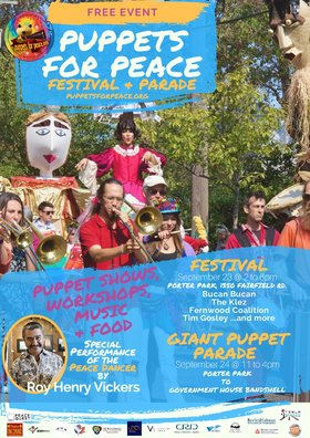 Puppets for Peace / Fall Fairfield Celebration: Tim Gosley & The Little Yellow Guy, Little Onion Puppet Theatre, Runaway Moon Giant Weaving, Buçan Buçan, Crabapple Trolls, The Klez, The Fernwood Coalition, Patrick Smith, Give Peace a Dance @ Porter Park, 1330 Fairfield Rd Sep 23 2017 - Mar 26th @ Porter Park, 1330 Fairfield Rd