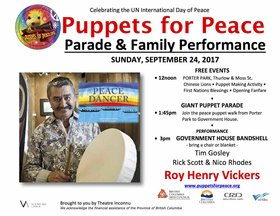 Puppets for Peace Parade & Roy Henry Vickers PEACE DANCER: Roy Henry Vickers, Rick Scott, Nico Rhodes, Tim Gosley & The Little Yellow Guy, Giant Puppets @ Porter Park, 1330 Fairfield & Government House, Rockland Ave. Sep 24 2017 - Mar 26th @ Porter Park, 1330 Fairfield & Government House, Rockland Ave.