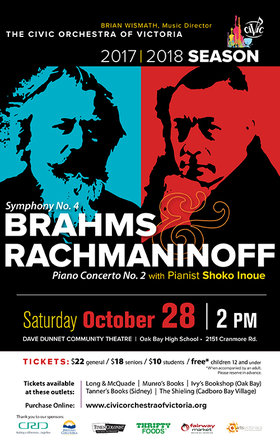 Brahms & Rachmaninoff [with Shoko Inoue]: The Civic Orchestra of Victoria @ Dave Dunnet Theatre Oct 28 2017 - Dec 10th @ Dave Dunnet Theatre