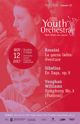 Greater Victoria Youth Orchestra Presents Vaughan Williams Symphony No. 3: Yariv Aloni, Music Director, Greater Victoria Youth Orchestra  @ The Farquhar at UVic Nov 12 2017 - Dec 14th @ The Farquhar at UVic