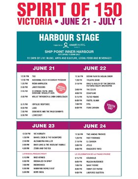 Spirit of 150: Dope Soda, Dave Lang, Marafani World Beat, Alexandria Maillot, Boomshack, Daniel Cook & The Radiators, Boogaloo En Orbit, Vic Horvath, Nice Verdes, Zoubi and the Sea @ Ship Point (Inner Harbour) Jun 23 2017 - Apr 20th @ Ship Point (Inner Harbour)