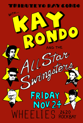 KAY RONDO and the Allstar Swingsters @ Wheelies Motorcyles Nov 24 2017 - Dec 9th @ Wheelies Motorcyles