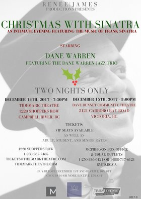 Christmas with Sinatra: Dane Warren @ Dave Dunnet Theatre Dec 15 2017 - Dec 10th @ Dave Dunnet Theatre