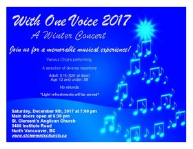 WOV 2017 w/ special guests: Stephen King, Vancouver Ismaili Muslim Adult Choir ,  Thunderbird Chorus, St. John the Evangelist Choir , St. Clement's Choir @ St. Clement's Anglican Church Dec 9 2017 - Nov 17th @ St. Clement's Anglican Church