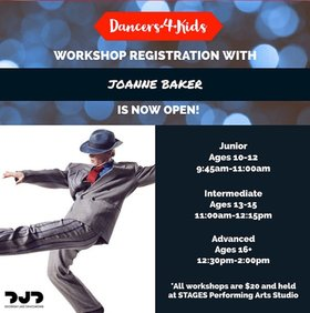 Dancers4Kids Workshops: Joanne Baker @ Stages Performing Arts School  Feb 10 2018 - Jan 22nd @ Stages Performing Arts School