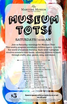 Museum Tots! @ Maritime Museum of BC Jan 20 2018 - Jan 16th @ Maritime Museum of BC