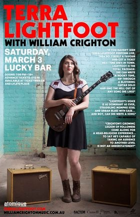 TERRA LIGHTFOOT, William Crighton @ Lucky Bar Mar 3 2018 - Feb 17th @ Lucky Bar