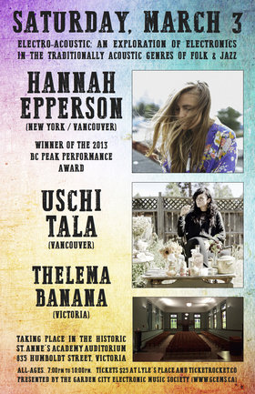 Electro-Acoustic:  An Exploration of Electronics in Folk and Jazz: Hannah Epperson, Uschi Tala, Thelema Banana @ St. Ann's Academy Auditorium Mar 3 2018 - Dec 10th @ St. Ann's Academy Auditorium