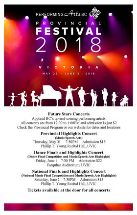 Provincial Festival Dance Finals and Highlights Concert @ The Farquhar at UVic Jun 1 2018 - Jan 20th @ The Farquhar at UVic