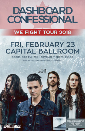 Dashboard Confessional: Dashboard Confessional, The Elwins, Cara Bateman @ Capital Ballroom Feb 23 2018 - Dec 12th @ Capital Ballroom
