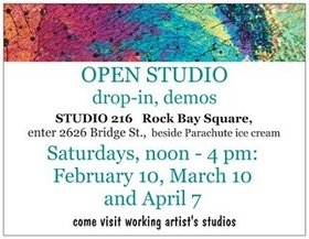 OPEN STUDIO - Studio 216: Lynda Lombardi, Jeff Maltby, TC Davis, Susan Geddes, Allan Toews @ 2626 Bridge St., Rock Bay Square Mar 10 2018 - Dec 11th @ 2626 Bridge St., Rock Bay Square