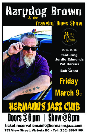 Harpdog Brown & the Travelin Blues Show: featuring Jordie Edmonds Pat Darcus Bob Grant @ Hermann