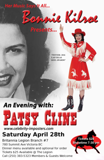 An Evening with Patsy Cline: Bonnie Kilroe @ Britannia Legion #7 Apr 28 2018 - Dec 13th @ Britannia Legion #7