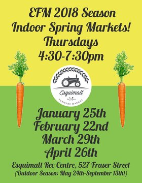 Esquimalt Farmers Market Pop Up: Chick Wagon Band, February 22 open, Morien Jones, February 22 close, Steve Palen, March 29 open, Lily Cave, March 29 close, Crimson Sky, April 26 open, TBA, April 26 close @ Esquimalt Rec Center Feb 22 2018 - Feb 22nd @ Esquimalt Rec Center