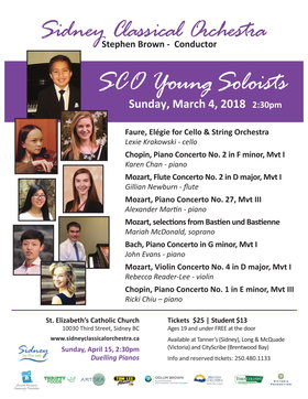 Young Soloists with the: Sidney Classical Orchestra, Stephen Brown @ St Elizabeth