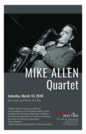 Mike Allen Quartet: Mike Allen-tenor sax Miguelito Valdes-trumpet John Lee-bass Kelby MacNayr-drums @ Hermann