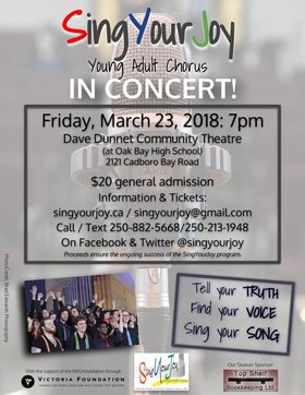 SingYourJoy IN Concert!: SingYourJoy Young Adult Chorus @ Dave Dunnet Theatre Mar 23 2018 - Dec 19th @ Dave Dunnet Theatre