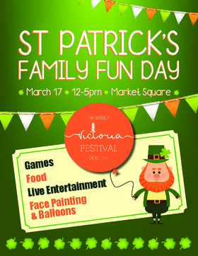 1st St Patrick's Day FREE Family Event: The O'Brien School of Irish Dance, Stages Dance, Daniel Lapp and the BC Fiddle Orchestra, Victoria Irish Dance, Kathie Laurie Highland Dance, Coastline, Yvonne Hernandez, Irish Dance Ceile Time @ Market Square Mar 17 2018 - Sep 18th @ Market Square
